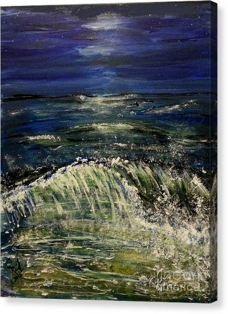 Beach At Night Canvas Print