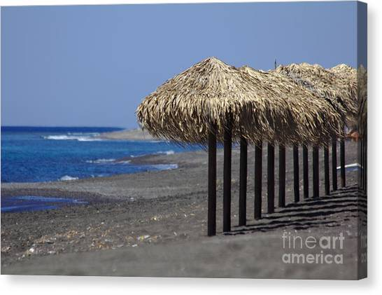 Canvas Print featuring the photograph Beach At Perivolos by Jeremy Hayden