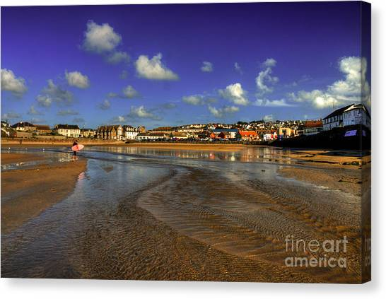 Bodyboard Canvas Print - Beach At Perranporth by Rob Hawkins
