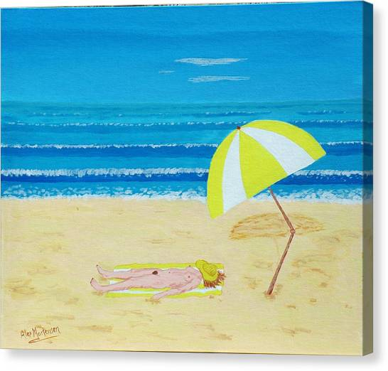 Beach Babe With All She Needs Canvas Print by Alex Mortensen