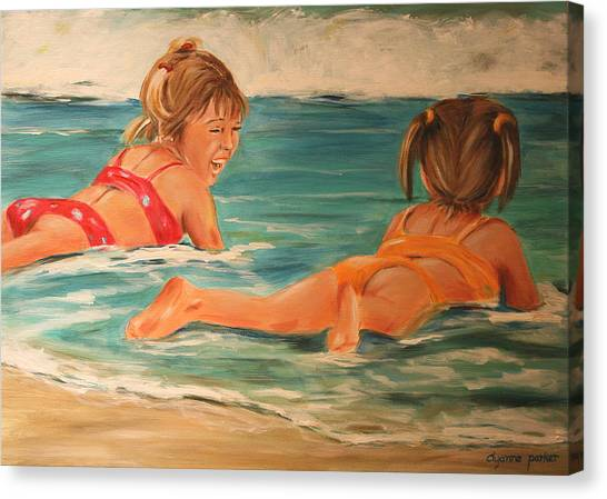 Beach Babies Canvas Print by Dyanne Parker