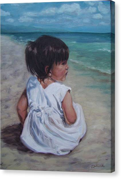 Beach Baby Canvas Print by Tahirih Goffic