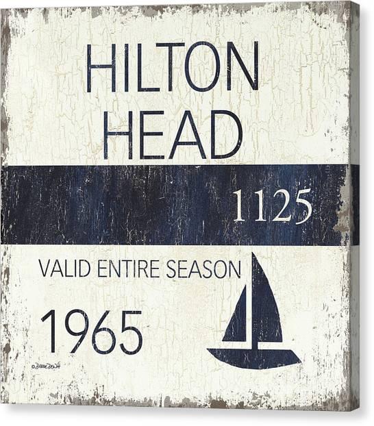Beach Resort Canvas Print - Beach Badge Hilton Head by Debbie DeWitt