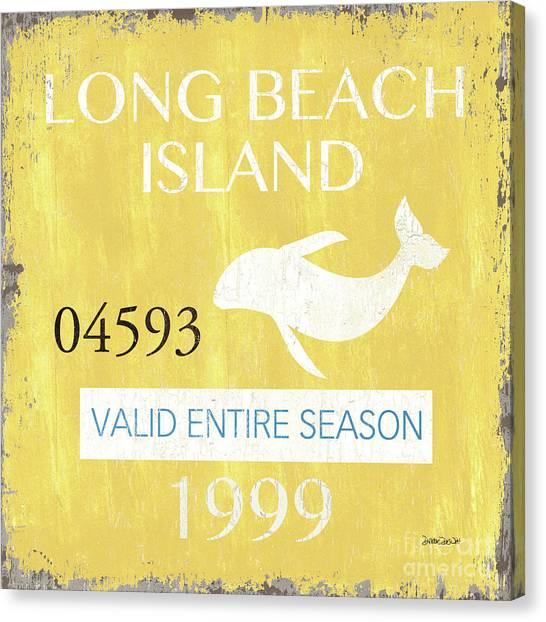 Dolphins Canvas Print - Beach Badge Long Beach Island 2 by Debbie DeWitt