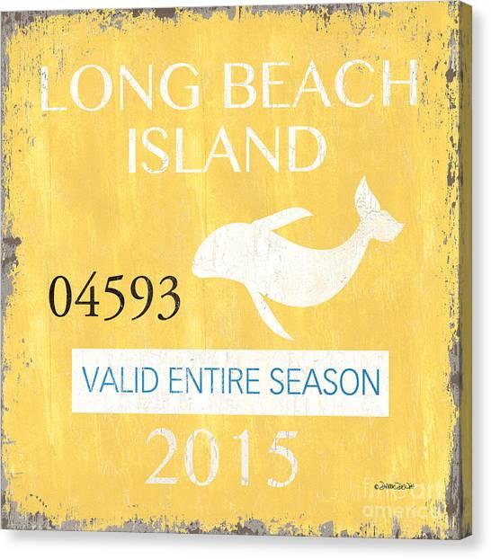 Dolphins Canvas Print - Beach Badge Long Beach Island by Debbie DeWitt