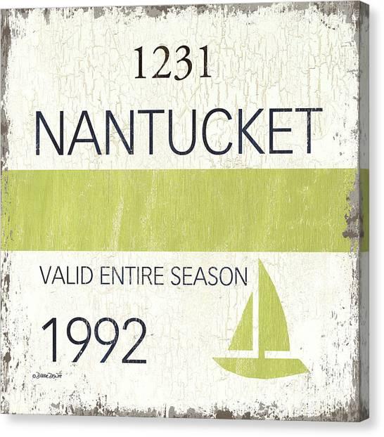 Beach Resort Canvas Print - Beach Badge Nantucket by Debbie DeWitt