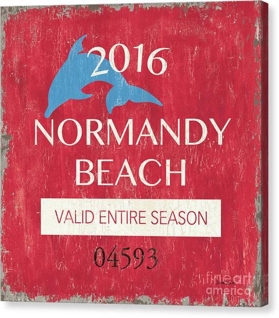 Sign Canvas Print - Beach Badge Normandy Beach by Debbie DeWitt