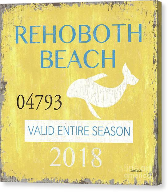 Beach Resort Canvas Print - Beach Badge Rehoboth Beach by Debbie DeWitt