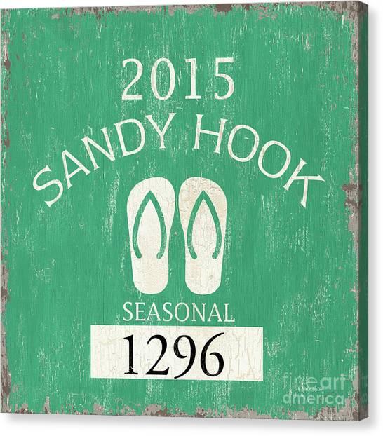 New Jersey Canvas Print - Beach Badge Sandy Hook by Debbie DeWitt
