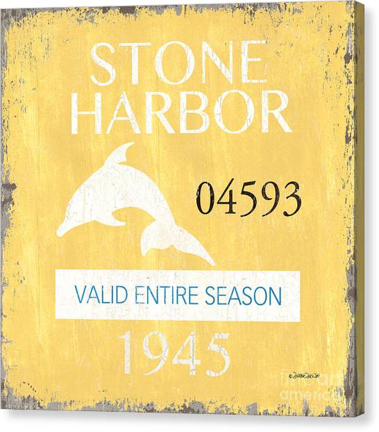 Flipper Canvas Print - Beach Badge Stone Harbor by Debbie DeWitt