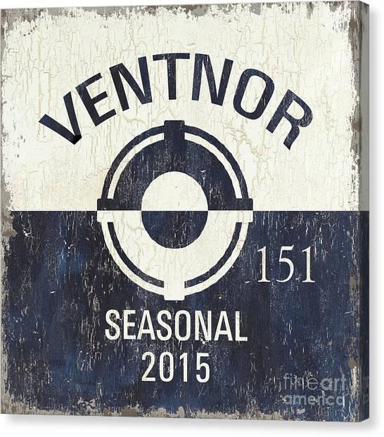 New Jersey Canvas Print - Beach Badge Ventnor by Debbie DeWitt