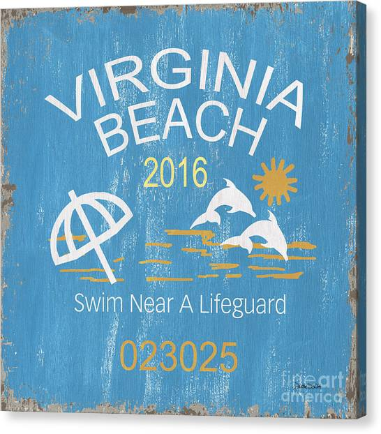 Beach Resort Canvas Print - Beach Badge Virginia Beach by Debbie DeWitt