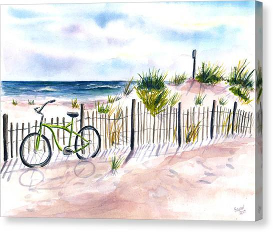 Beach Bike At Seaside Canvas Print
