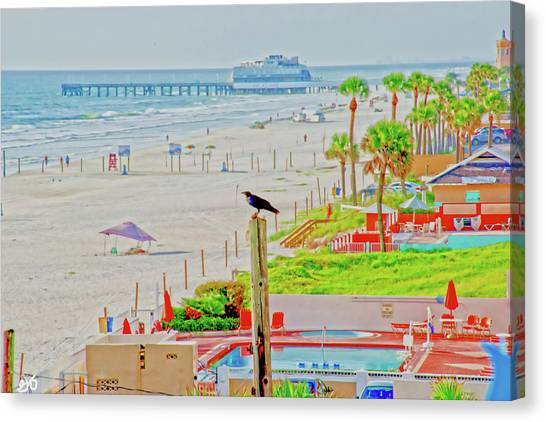 Beach Bird On A Pole Canvas Print