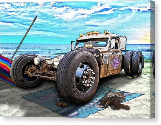 Beach Blanket Rat Rod Canvas Print