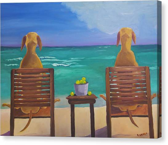 Yellow Lab Canvas Print - Beach Blondes by Roger Wedegis
