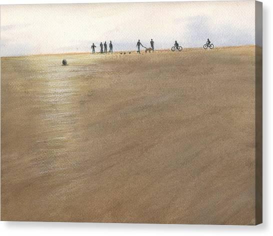 Beach Bocce Bikes Canvas Print