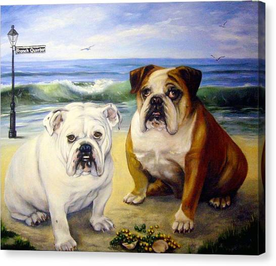 English Bull Dogs Canvas Print - Beach Bullies by Anne Kushnick