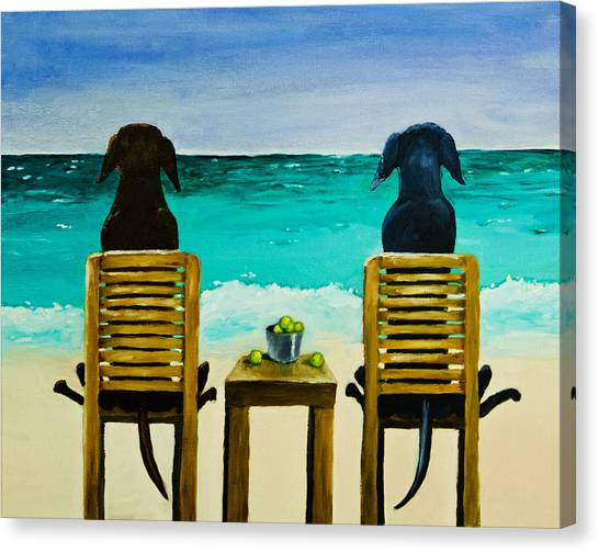 Black Sand Canvas Print - Beach Bums by Roger Wedegis