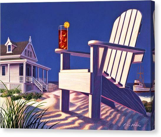 Iced Tea Canvas Print - Beach Chair  by Robin Moline