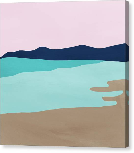 Waving Canvas Print - Beach Cove- Art By Linda Woods by Linda Woods
