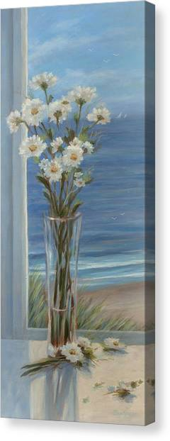 Beach Daisies In Glass Vase Painting By Tina Obrien
