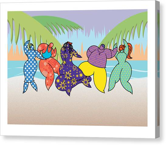 Beach Dancers Canvas Print