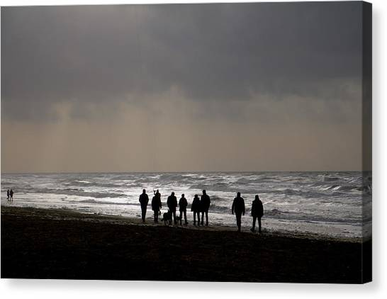 Beach Day Silhouette Canvas Print