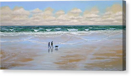 Beach Dog Walk Canvas Print