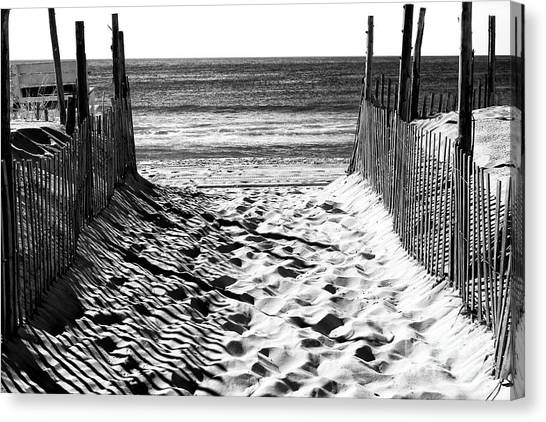 Atlantic Islands Canvas Print - Beach Entry Black And White by John Rizzuto