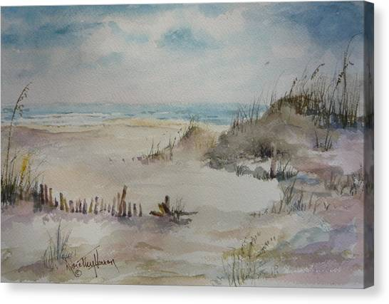 Beach Fence Canvas Print by Dorothy Herron