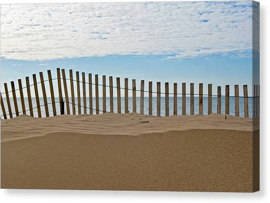 Beach Fence Canvas Print by Maria Dryfhout