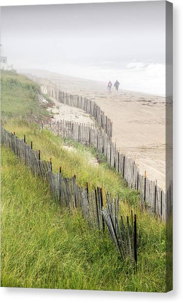 Beach Fences In A Storm Canvas Print