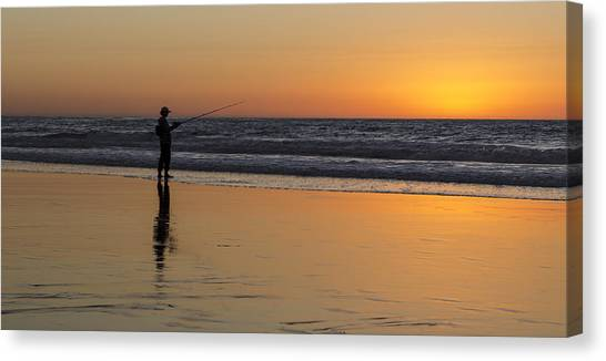 Beach Fishing At Sunset Canvas Print