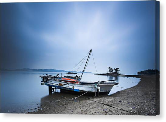 Beach Fishing Boat Canvas Print