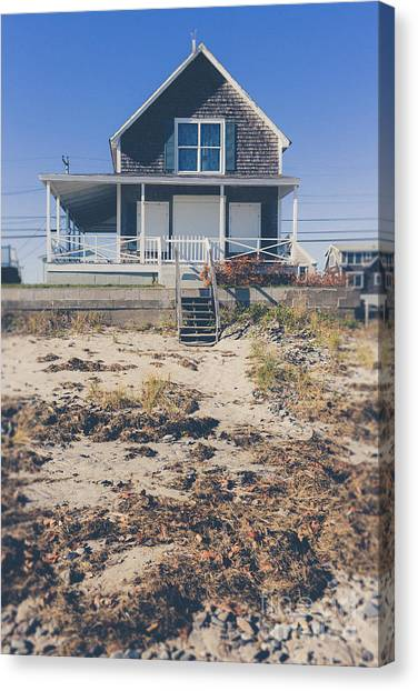 Wells Beach Canvas Print - Beach Front Cottage by Edward Fielding