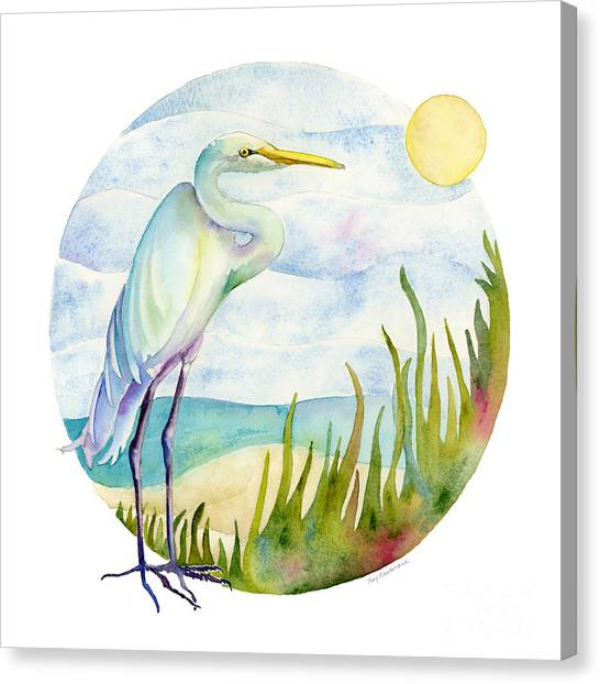 Beach Heron Canvas Print