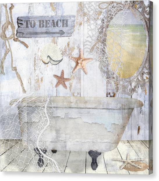 Sand Castles Canvas Print - Beach House Bath by Mindy Sommers