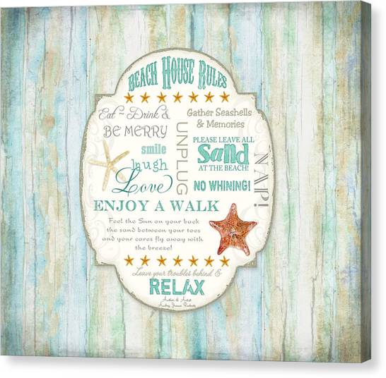 Cottage Style Canvas Print - Beach House Rules - Refreshing Shore Typography by Audrey Jeanne Roberts