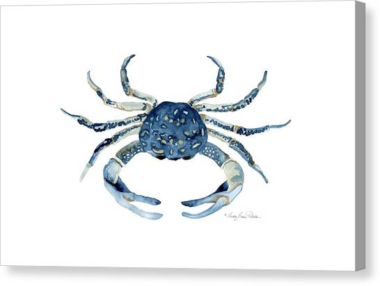 Cottage Style Canvas Print - Beach House Sea Life Blue Crab by Audrey Jeanne Roberts