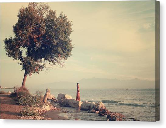 Ancient Art Canvas Print - Beach In Roda - Greece by Cambion Art