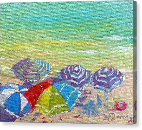 Canvas Print featuring the painting Beach Is Best by Jeanette Jarmon