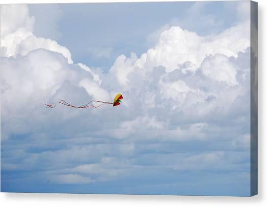 Beach Kite Canvas Print by Peter  McIntosh
