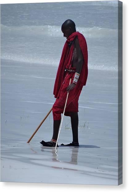 Explorason Canvas Print - Beach Maasai by Exploramum Exploramum