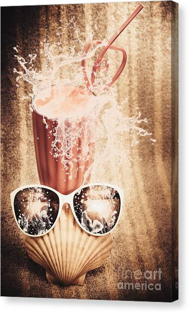Smoothie Canvas Print - Beach Milkshake With A Strawberry Splash by Jorgo Photography - Wall Art Gallery