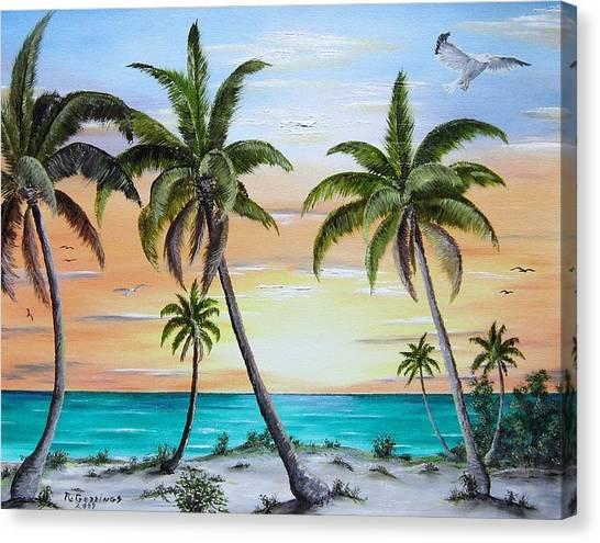 Beach Of Palms Canvas Print by Riley Geddings