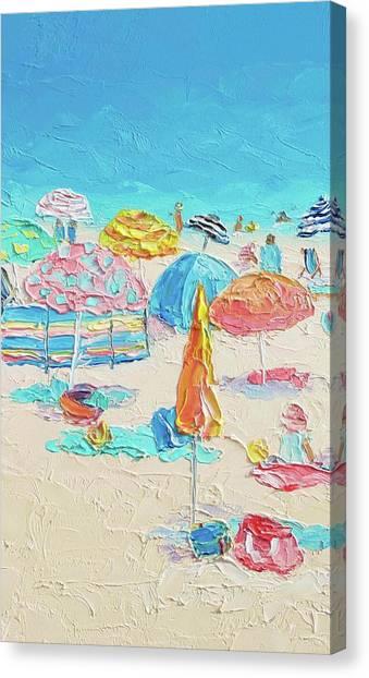 On The Beach Canvas Print - Beach Painting - A Crowded Beach by Jan Matson