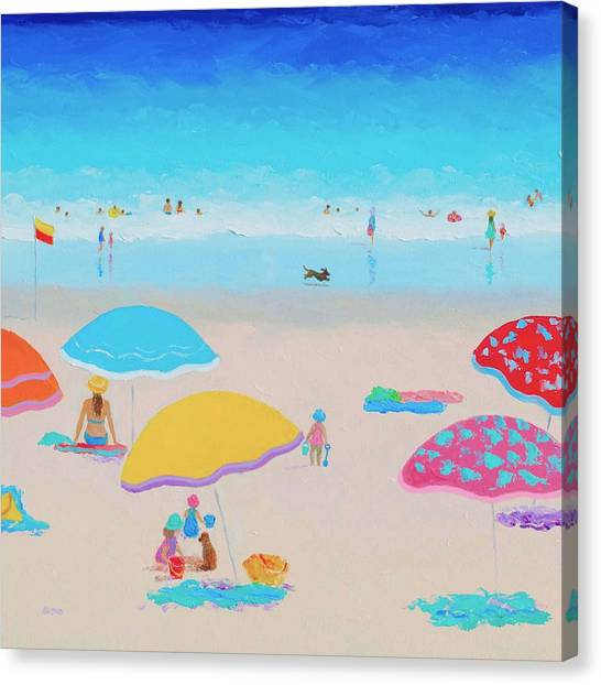 People On Beach Canvas Print - Beach Painting - Ah Summer Days by Jan Matson
