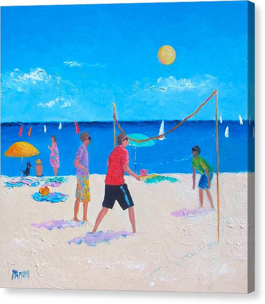 Volleyball Canvas Print - Beach Painting Beach Volleyball  By Jan Matson by Jan Matson