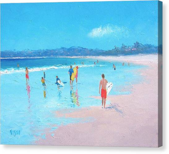 Children Playing On Beach Canvas Print - Beach Painting Last Days Of Summer by Jan Matson